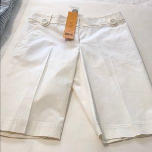 Tory Burch white Ainsley Bermuda shorts